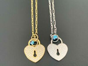 925-Sterling-Silver-Gold-Heart-Locket-Evil-Eye-Necklace-Mati-Cubic-Zirconia-CZ