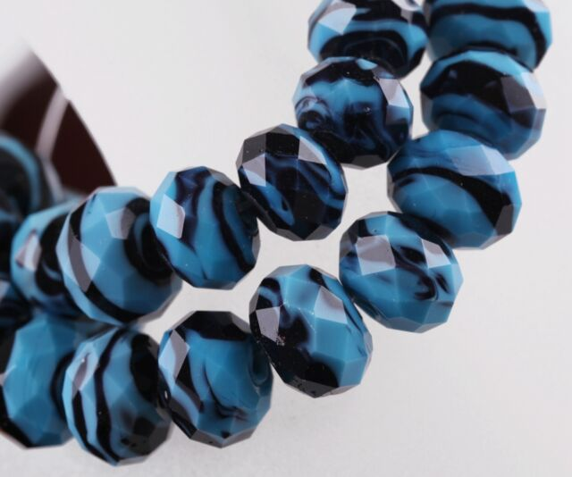10pc 12mm Faceted Rondelle Lampwork Glass Loose Spacer Beads Blue Free Postage