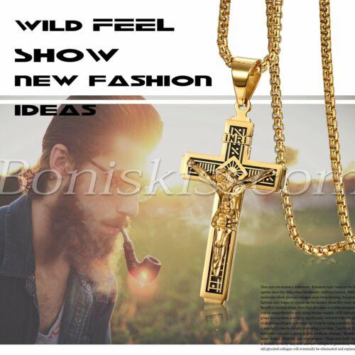 Para Hombre católico Jesucristo Religioso Cruz Regalo Collar de Cadena Colgante Crucifijo