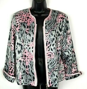 Joseph-Ribkoff-12-jacket-zip-sparkle-black-pink-animal-print-satin-L-cocktail