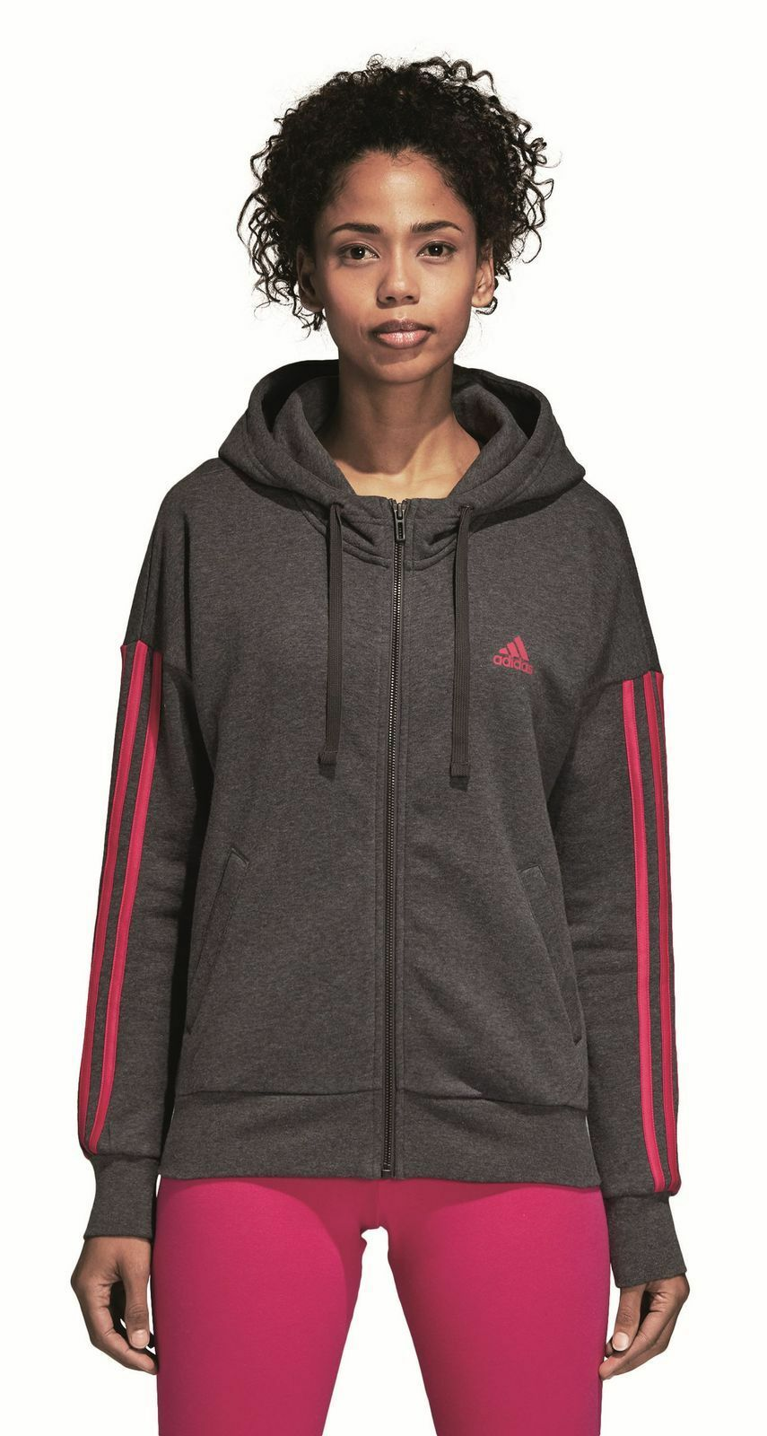 Adidas Performance Women's Sports Hoody 3 Stripes Fullzip Hoodie Grey Red