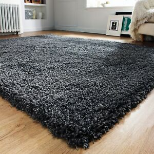 Image Is Loading Modern Thick Fluffy Charcoal Grey Gy Rugs Non