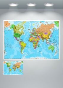 World map detailed large poster art print ebay image is loading world map detailed large poster art print gumiabroncs Gallery