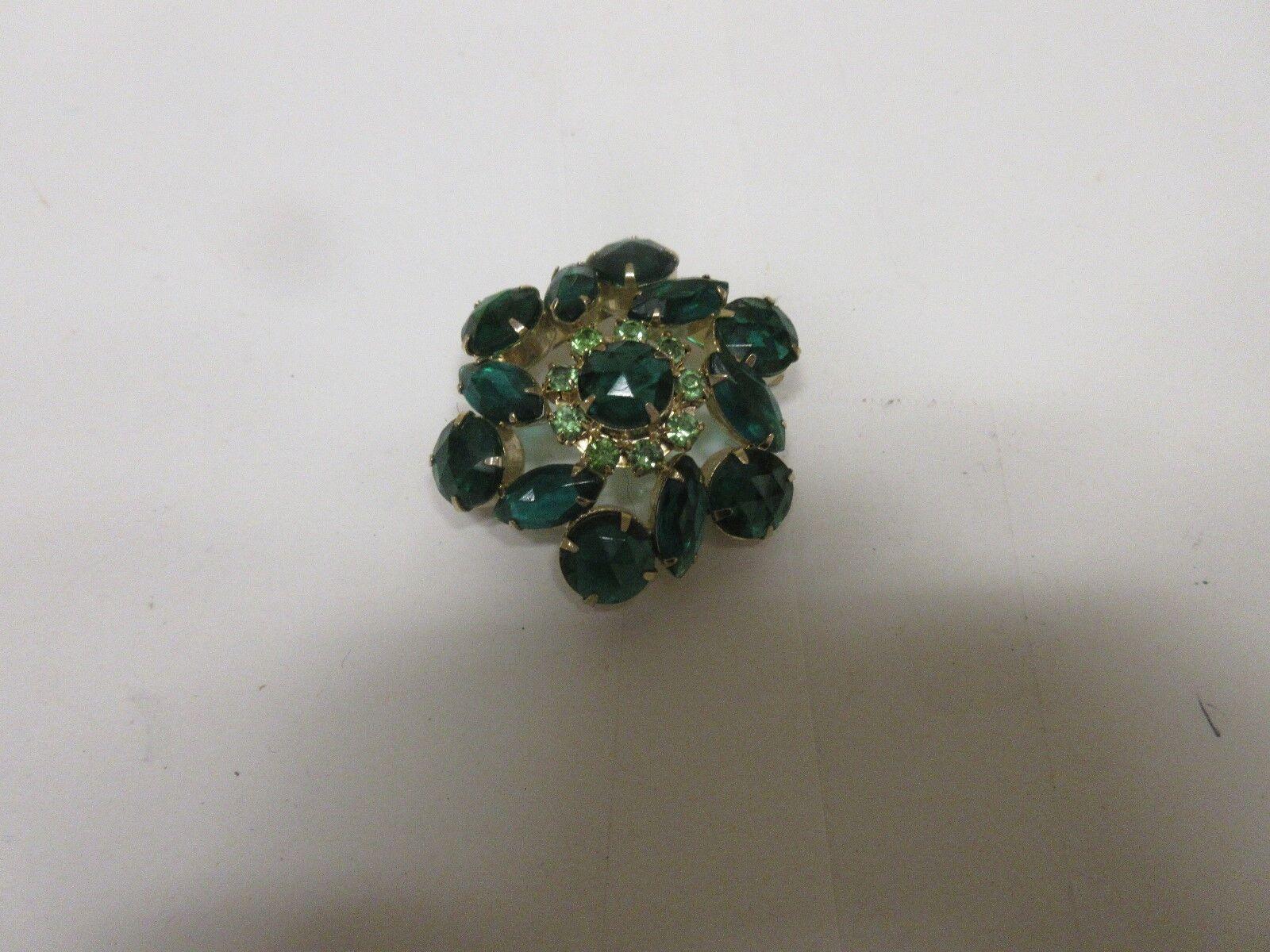 """Costume Jewelry , Ladies Pin , Green Stones , 2"""" X 2"""" ,"""