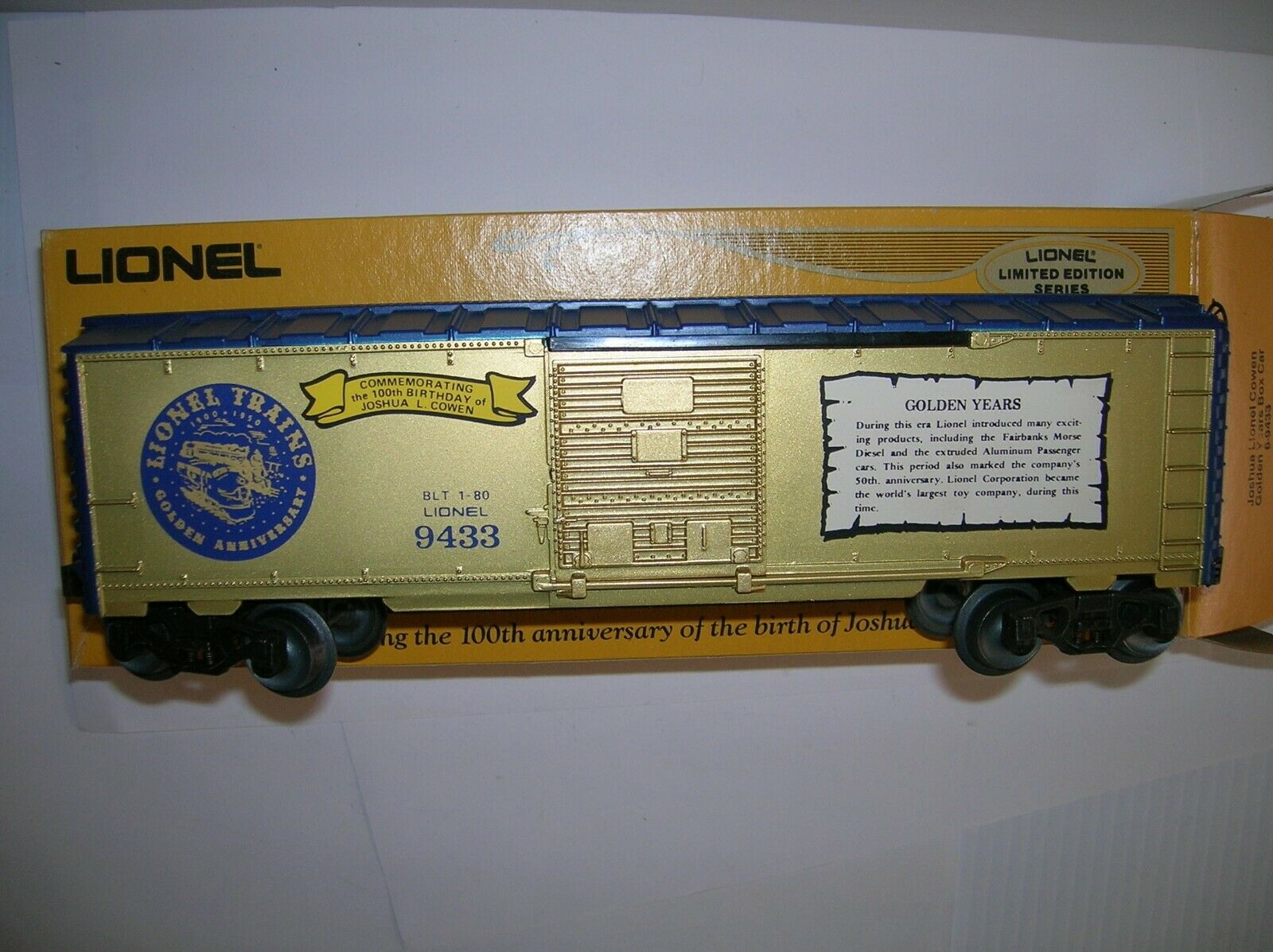 LIONEL 6-9433   J. LIONEL COWEN goldEN YEARS BOX CAR     ,USED BOXED LOT