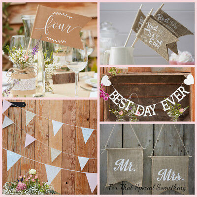 10m Rustic Country Ginger Ray Vintage Style Floral Print Wedding Bunting