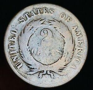 1865 Two Cent Piece 2C DIE CRACK Civil War Era Worn Date US Copper Coin CC6905