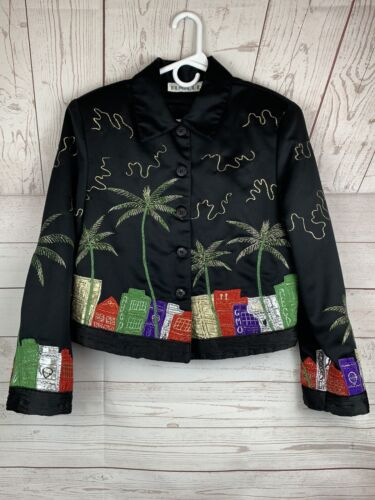 TUNIQUE Blazer Jacket Black Stitched Designed Embe