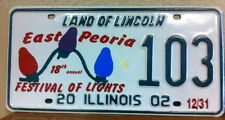 2002 ILLINOIS Festival of Lights Special Events License Plate (103)
