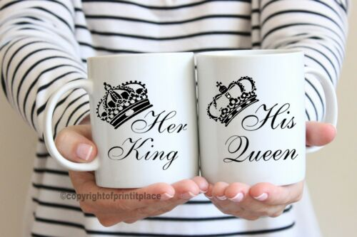 Coffee Mug Coaster set 10//15oz// Magic King and Queen His and Hers Premium Tea