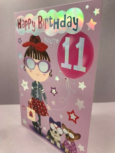 11TH BIRTHDAY CARD GIRL AGE 11 Cats Cool Full colour inside Dogs Shopping