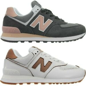 New Balance W574 weiß grau Damen Leder Low-Top Sneakers ...