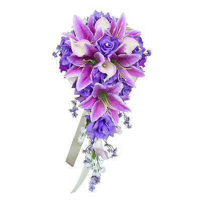 Cascade Bridal bouquet - Shades of Lavender and Ivory - Artificial Flowers