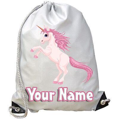 Costante Rosa Unicorno Bambino Personalizzata Palestra / Nuoto / Pe Sacchetto-kids Regalo & Denominato Troppo-mostra Il Titolo Originale Materiale Selezionato