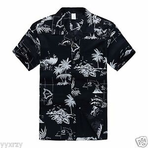 Men-Aloha-Shirt-Cruise-Tropical-Luau-Beach-Hawaiian-Party-Navy-Map-Palm-Island
