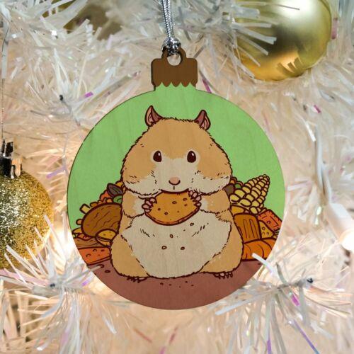Hamster Eating Stash of Food Wood Christmas Tree Holiday Ornament