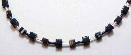 Bisutería collar cadena cubo de vidrio Cube 6mm Millefiori negro 254vo