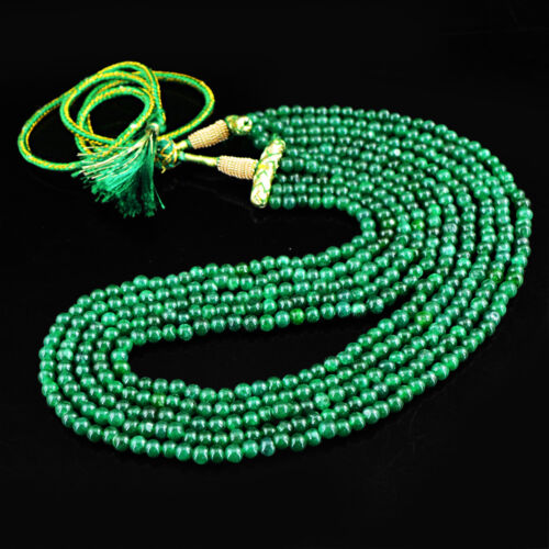484.50 cts Earth mined 5 Strand riche vert émeraude Forme Ronde Perles Collier