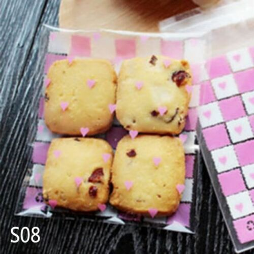 50//100p Love Cute Plastic Transparent Cellophane Candy Cookie Gift Bag For Biscu
