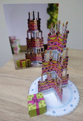 Birthday Cake Model Card Candles Present Laser Cut Duckling Cards Special
