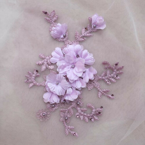 6 Colours Embroidery Bridal Lace Motif Floral Beaded Trim Wedding Applique 1 PC