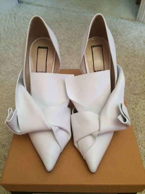 NO21 White Leather Half D'Orsay Heels