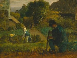 Garden-Scene-Jean-Francois-Millet-Fine-Art-Print-on-Canvas-Giclee-Poster-Small
