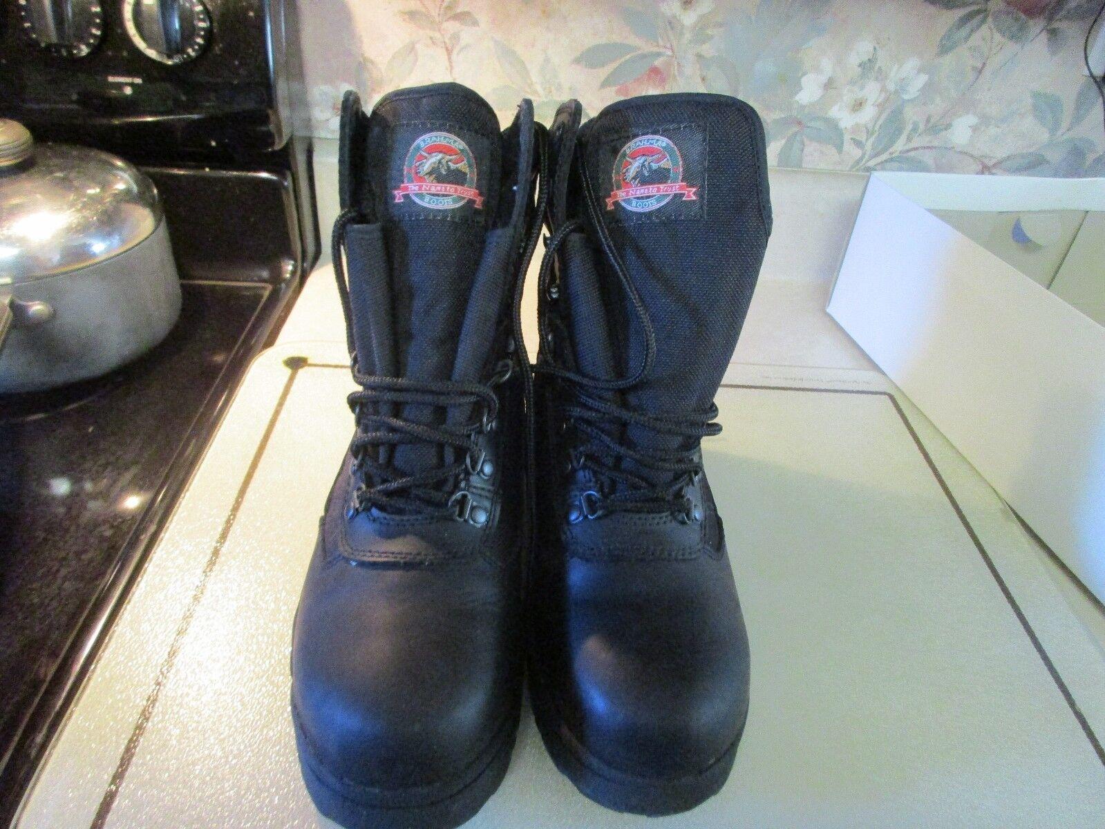 BRAHMA COMMANDER III Mens Size 8 BLACK Waterproof Leather Work Boots NIB