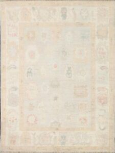 Vegetable Dye Geometric Floral Authentic Ushak Turkish Hand-knotted Area Rug 4x6