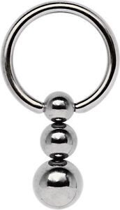 Titanium Piercing Jewellery Intimate Ring Bcr 1,2mm With Three-clamping Ball, Jewelry & Watches