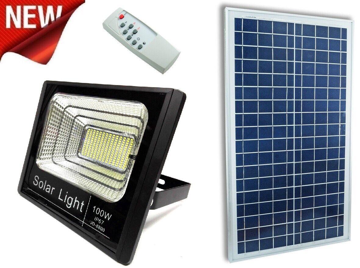 Faro LED SMD 100 W con pannello solare energia crepuscolare con telecomando ip65