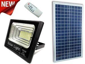 Faro-LED-SMD-100-W-con-pannello-solare-energia-crepuscolare-con-telecomando-ip65