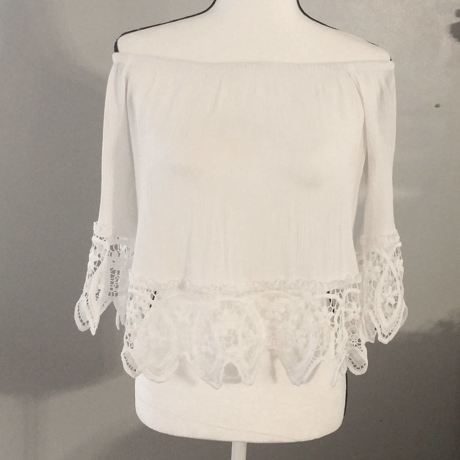 Ambiance White Lacey Fairycore crop top - image 4