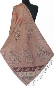 Pink-Wool-Silk-Blend-Jamavar-Shawl-Gray-amp-Burgundy-Paisley-72-034-x27-034-Stole-Wrap
