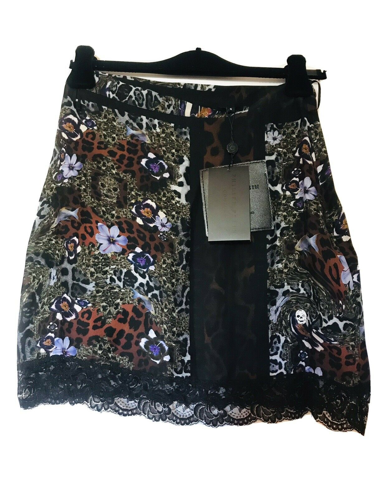 100% Original Philipp Plein SEIDE mini Shirt ,,midnight,, Gr. S Neu!