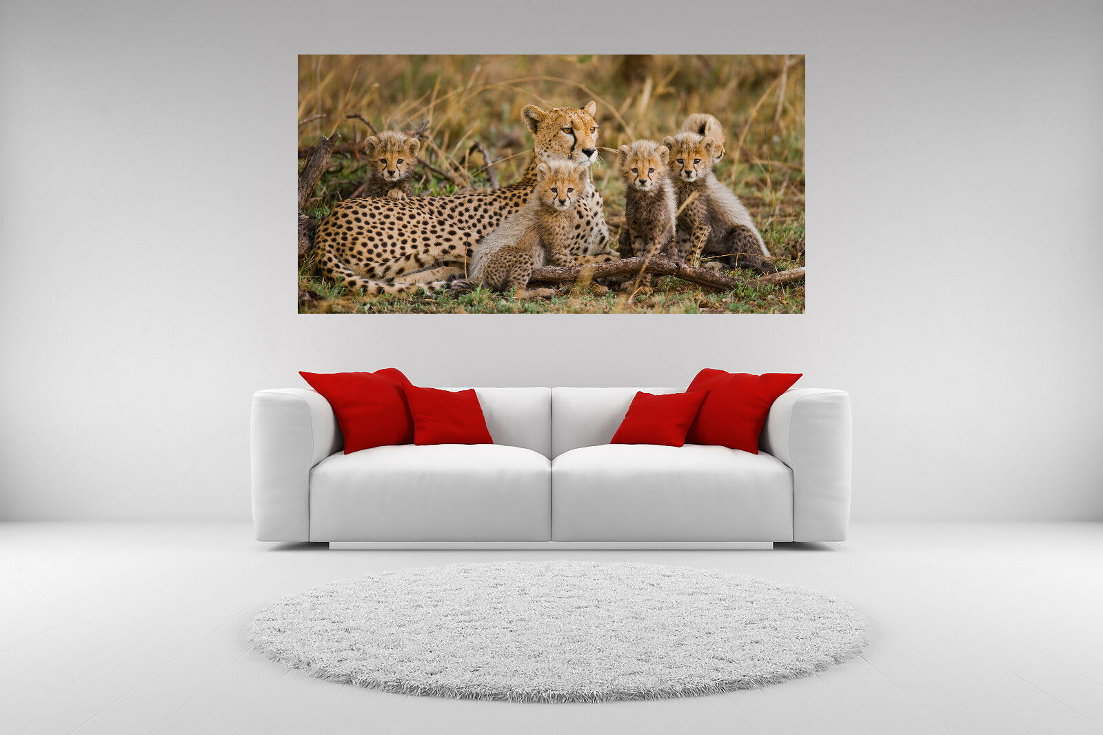 Cheetah Family Canvas Portrait Picture Giclee Print Unframed Home Decor Wall Art