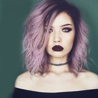 Attractive Purple Ombre Medium Synthetic Shaggy Natural Wave Capless Wig Hair