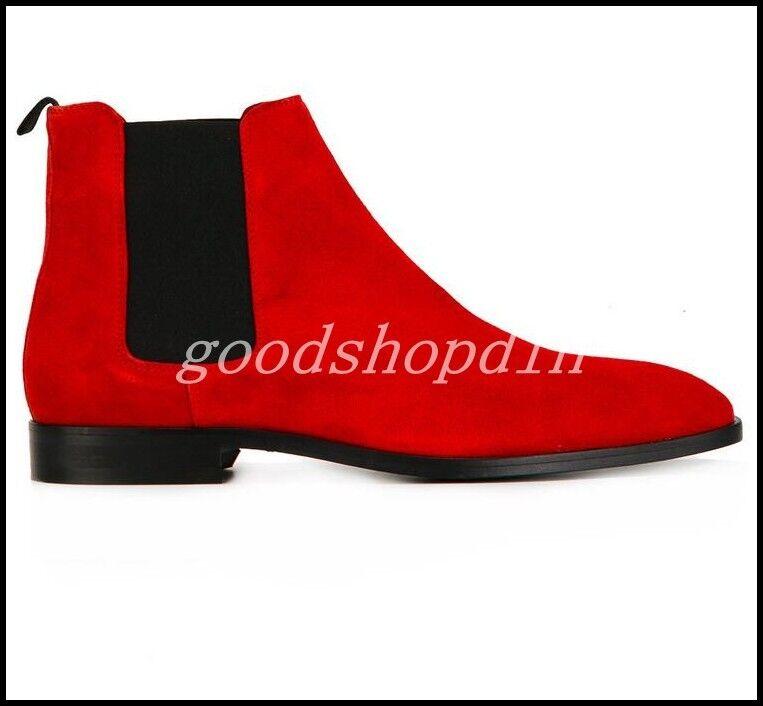 Vogue Men Suede Ankle Boots Pointy Toe Dress Causal Chelsea Bridal Shoes Plus Sz