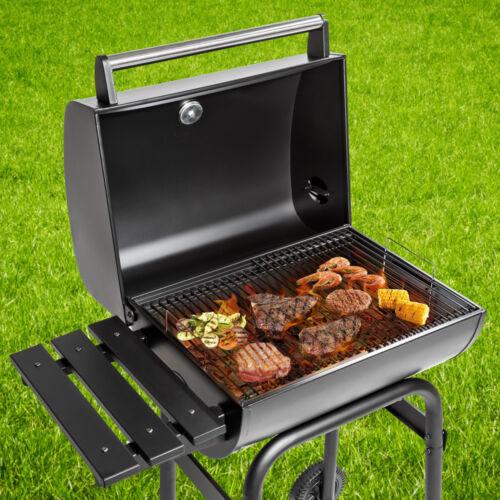 BBQ Holzkohle Grill Barbecue Smoker Räucherofen Grillwagen Gartengrill schwarz