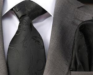 PLAIN BLACK EMBOSSED SILK TIE /& HANKY ITALIAN DESIGNER Milano Exclusive