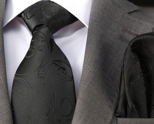 /& HANKY ITALIAN DESIGNER Milano Exclusive PLAIN BLACK EMBOSSED SILK TIE