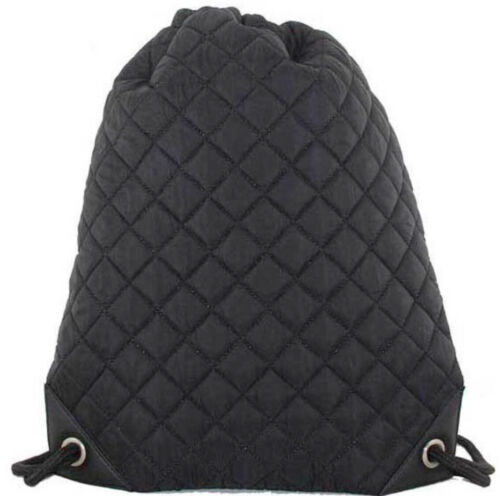 Quilted Drawstring backpack//gym bag in Black Brand New