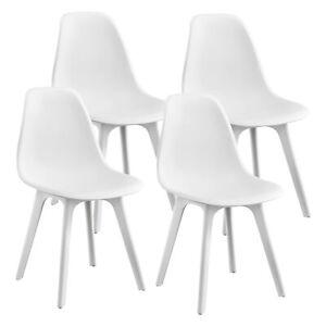 Details Zu En Casa 4x Design Stuhle Weiss Esszimmer Stuhl Kunststoff Skandinavisch Set