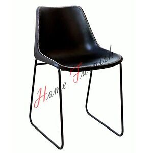 Image Is Loading Vintage Industrial Style Dining Chair Black Leather Chair