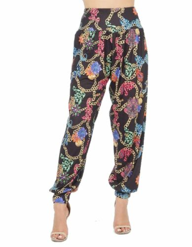Womens Multi Colour Chain Print Ali Baba Harem Trouser Ladies Casual Wear Pants