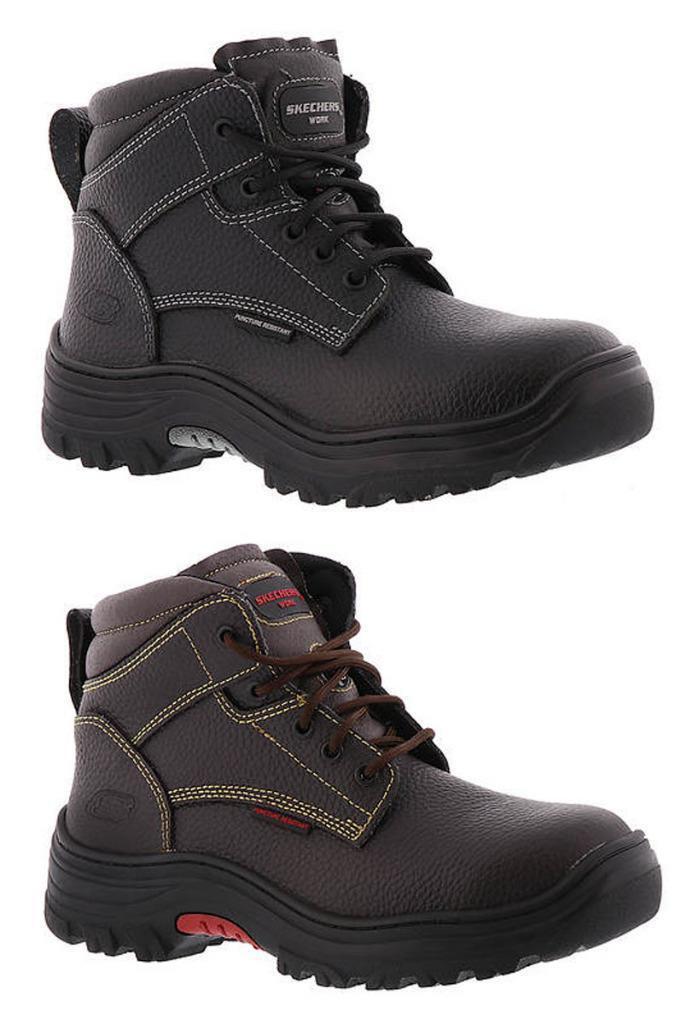 SKECHERS trabajo cuero acero dedo eléctricos peligro de seguridad botas en Negro y Marrón