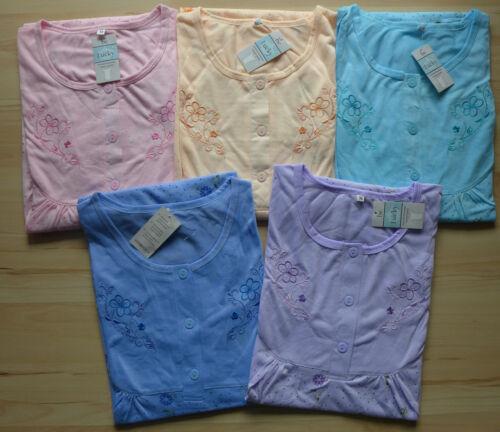 ROMESA Nachthemd Kurzarm Blumen Muster lila blau apricot rosa Gr M L XL NEU