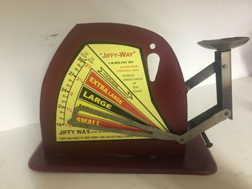 Vtg Style Jiffy Way Manufacturing Company Rd Metal Poultry Egg Scale Advertising