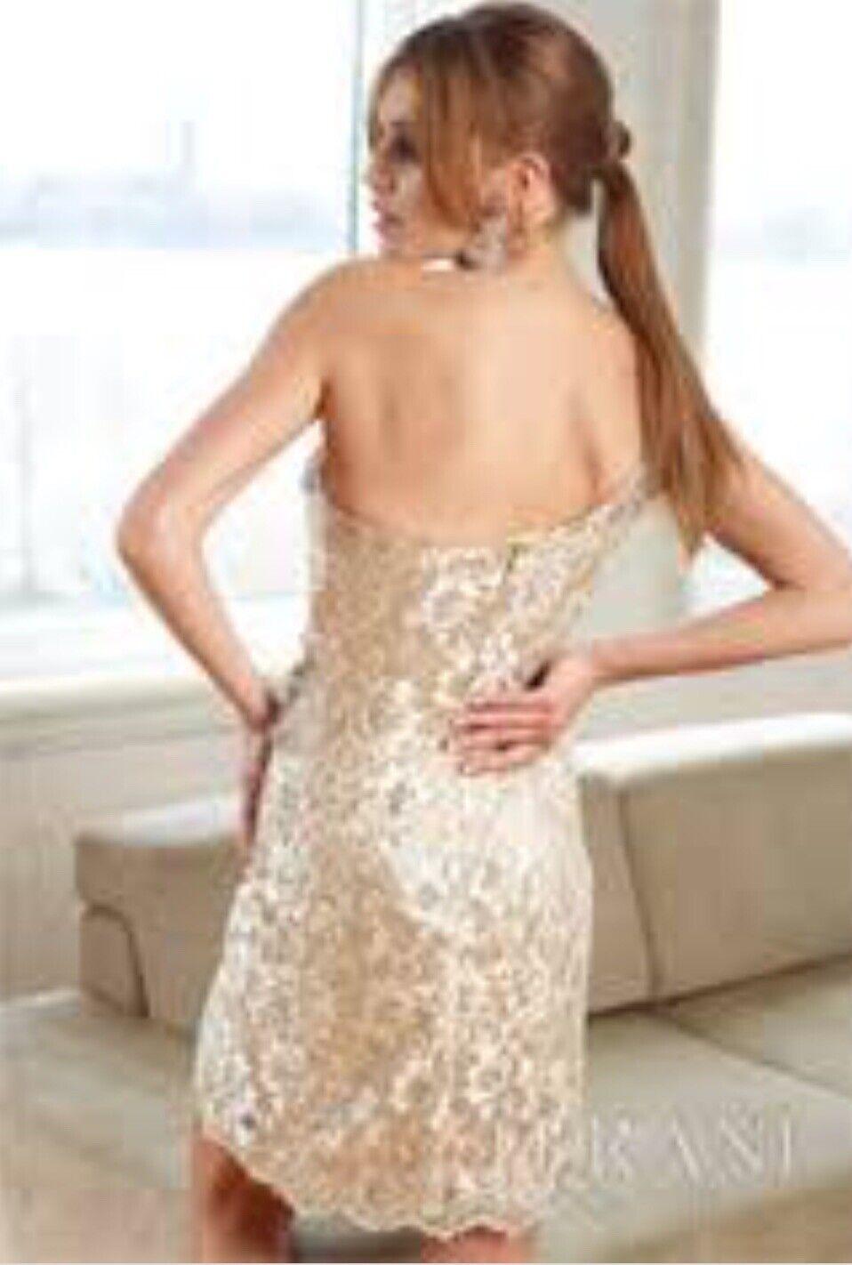 Terrani Couture Crystal Nude Dress Wedding Formal - image 2