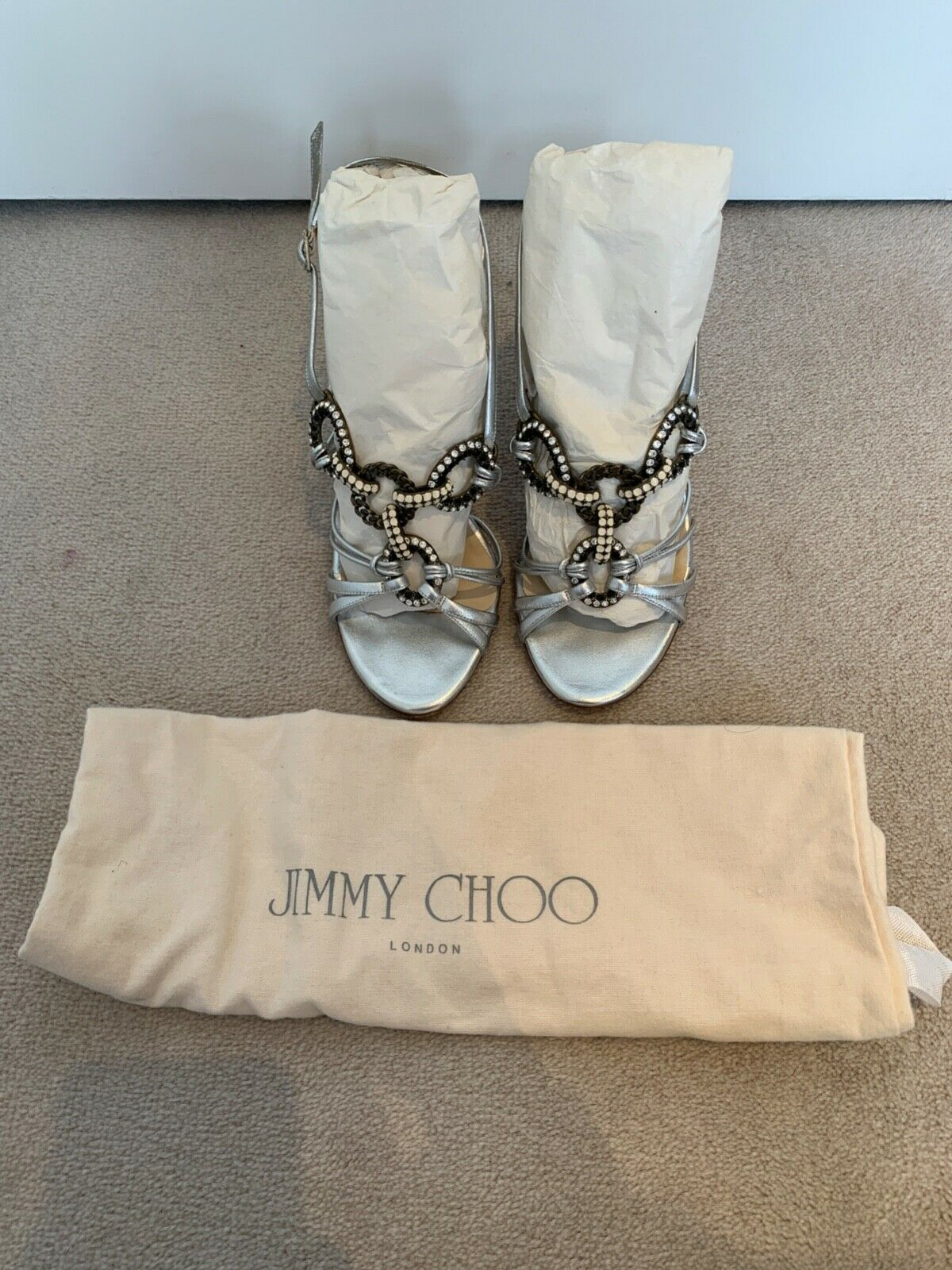 Jimmy Choo Silver Embellished Heeled Sandals